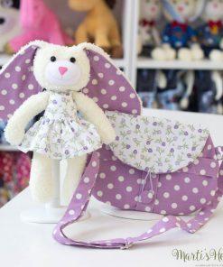 Детска чанта с играчка зайче, лилав цвят, на точки и цветя