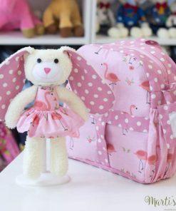 Раничка с играчка зайче, розов цвят, фламинго