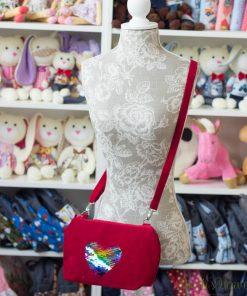 червена чанта, сърце, ръчна изработка