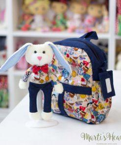 Детска раничка с играчка зайче за момче