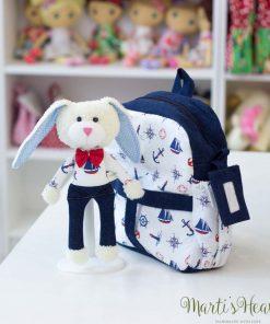 Раничка с играчка-зайче, за момче