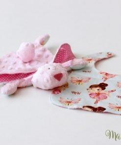 Розова мека плюшена играчка с лигавник на балерини
