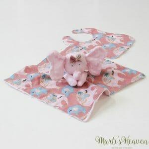 Играчка розово слонче с лигавник за бебе