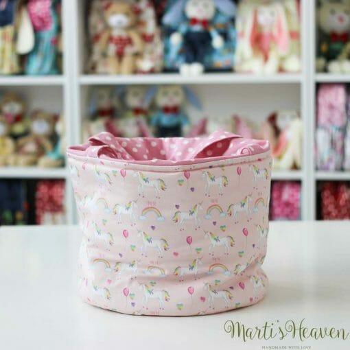 Кош за играчки, розов, на еднорози